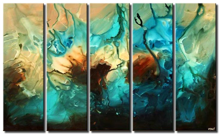 multi panel large abstract art in blue tones