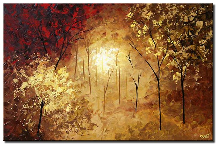 abstract landscape painting of dense forest
