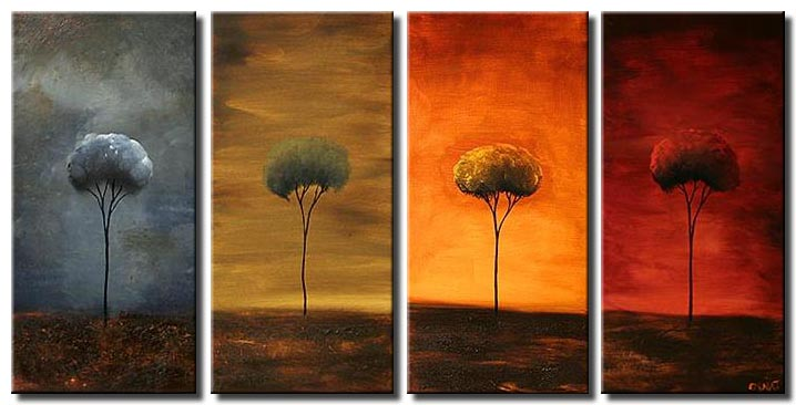 abstract sunrise painting multi panel colorful