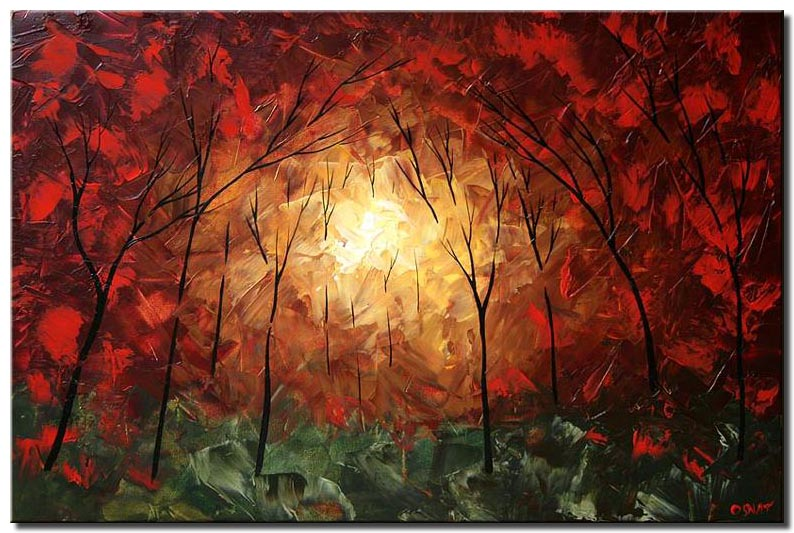 dense forest in red light trees wall decor