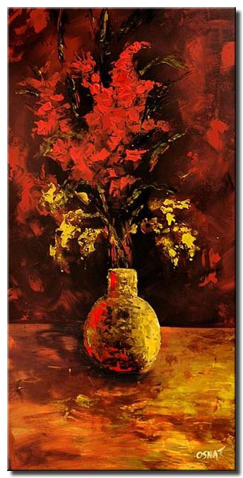 vertical painting of vase and red flowers