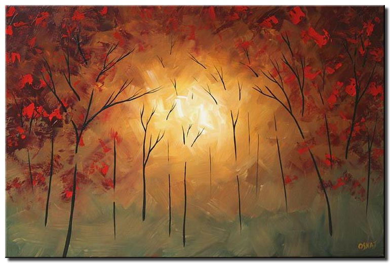 abstract sunrise painting in red forest blossom