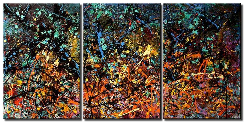 large colorful splash painting on three canvases