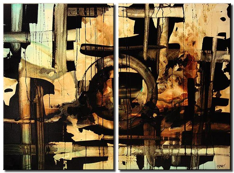 diptych abstract of stripes in black and brown