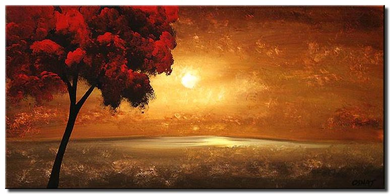 horizontal landscape of red tree and sunrise