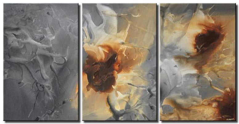 triptych grey modern wall painting