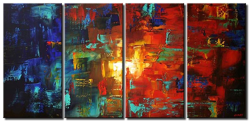 multi panel abstract canvas in red and blue tones