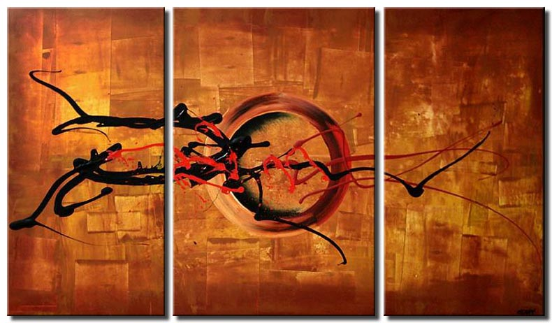 rusty orange triptych abstract painting circle