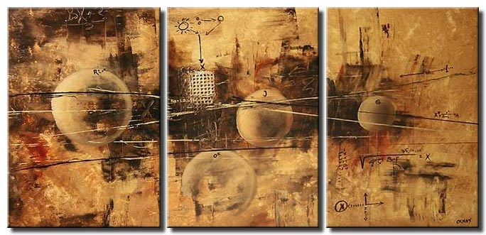 triptych abstract painting of circles on rusty background
