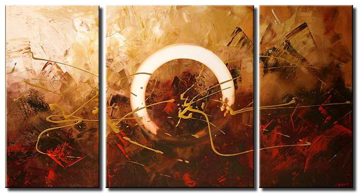 modern triptych home decor painting in red with white circle