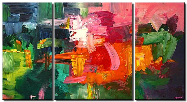 colorful modern abstract painting  triptych
