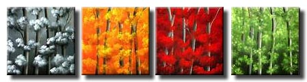 small multi panel blooming trees