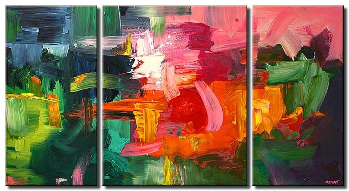 pink and green abstract painting colorful triptych