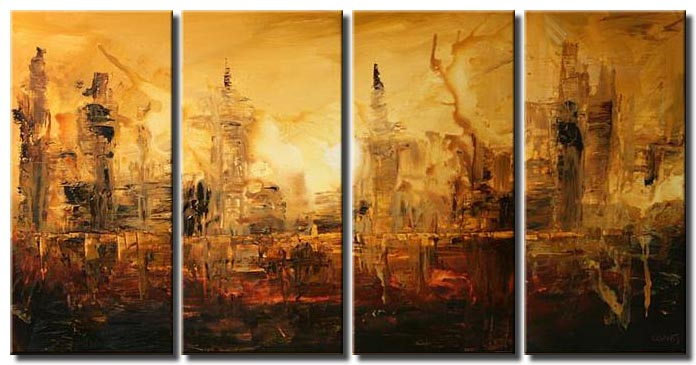 abstract cityscape in brown tones multi panel