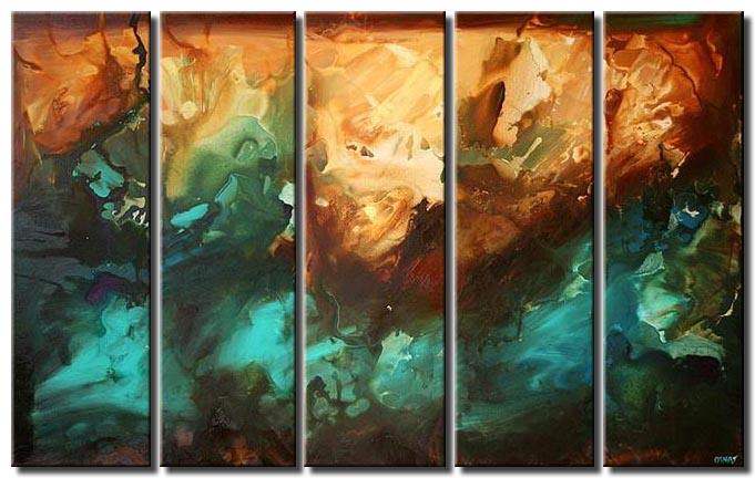 turquoise brown large abstract multi panel