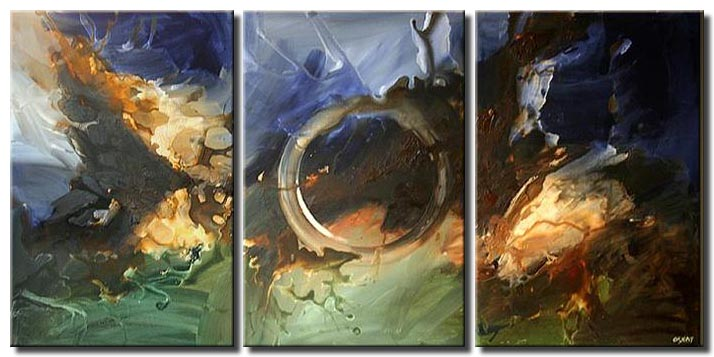 large living room decor triptych circle