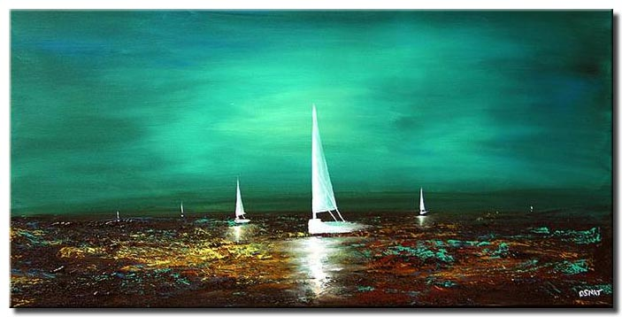textured sail boats in the horizon home decor