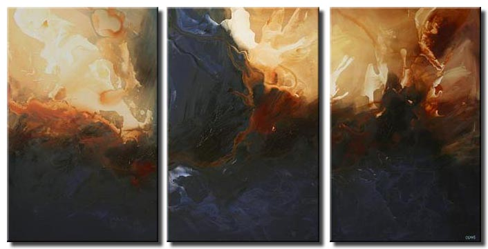 large home decor painting triptych sea dark