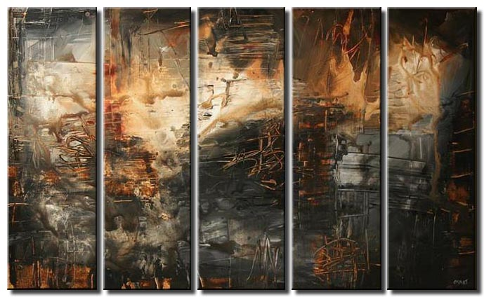 abstract painting in dark colors multi panel