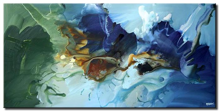 beautiful abstract painting imagination soft blue green