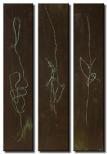 mixed media brown canvases triptych  flowers