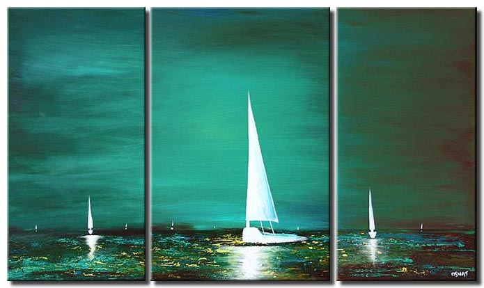 sail boats textured painting blue landscape