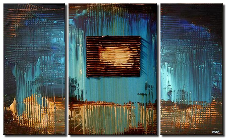 textured abstract painting in blue triptych