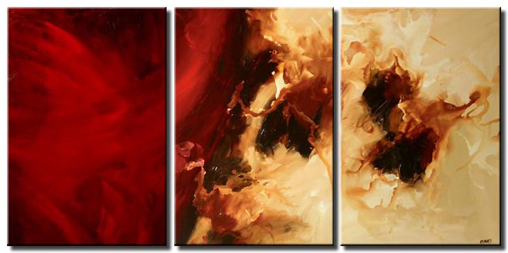 triptych in red modern painting decor wall