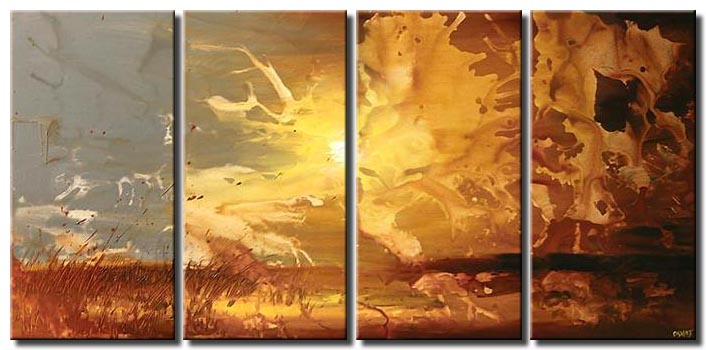 multi panel sunrise abstract painting decor wall