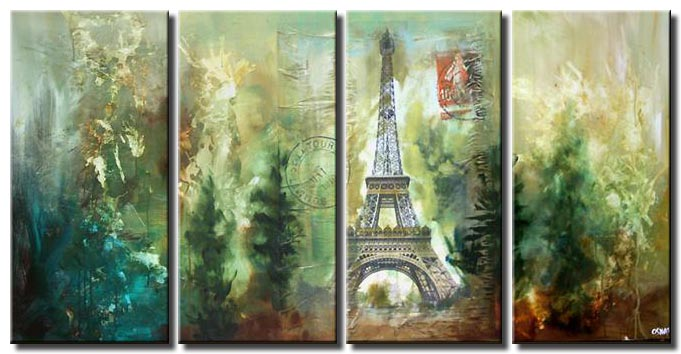mixed media eiffel tower painting multi panel