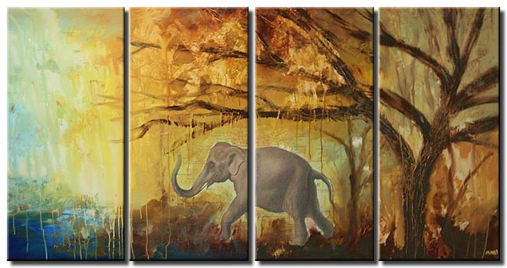 mixed media elephant painting multi panel
