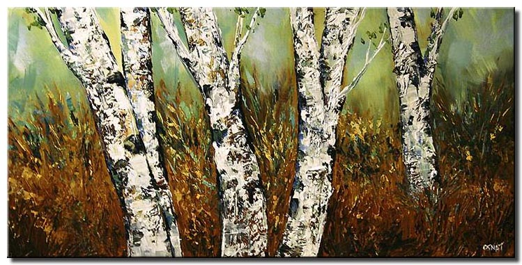 textured palette knife birch trees large home decor
