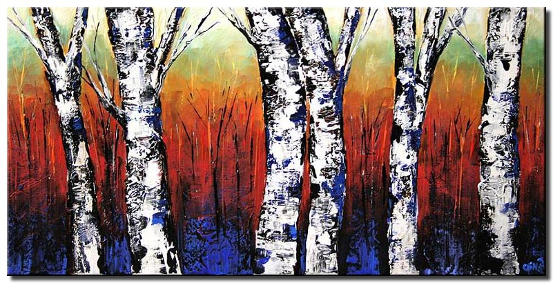 texture palette knife birch trees trees