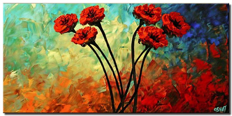 red poppies colorful painting blue turquoise