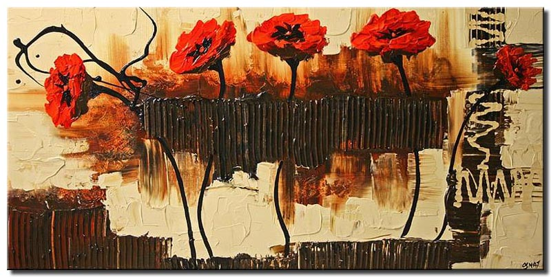 red poppies contemporary art painting