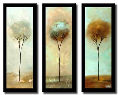 small triptych vertical trees border home decor