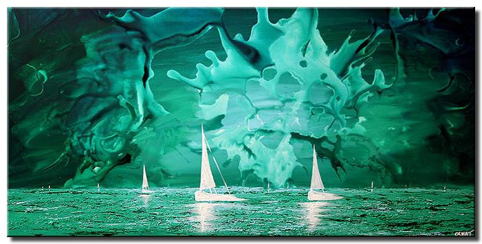 white sail boats on abstract ocean blue