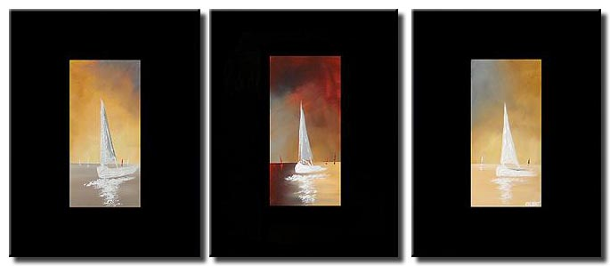 sail boats on three canvases border triptych
