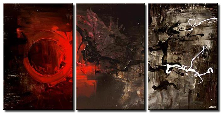 triptych modern abstract fire home decor