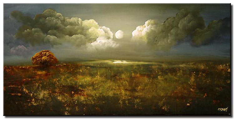 beautiful clouds landscape painting