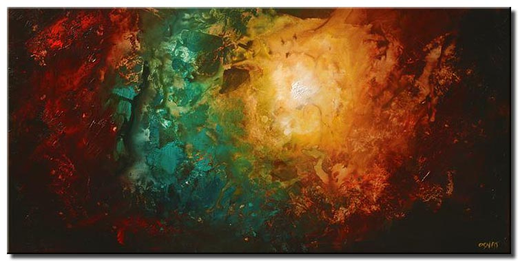 large modern painting colorful earth home decor