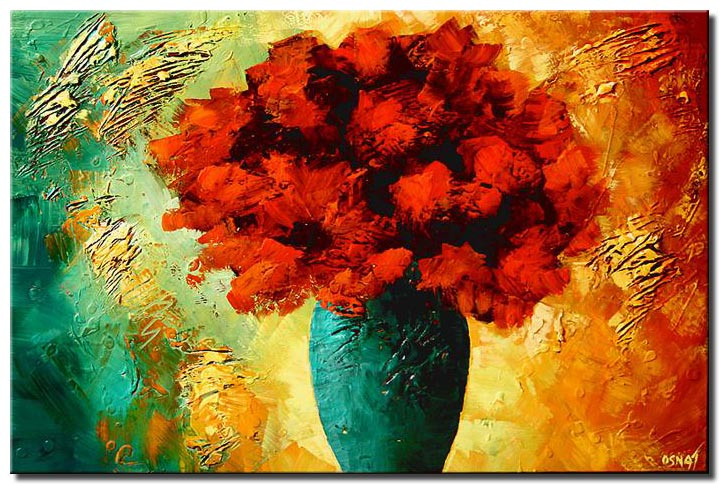 textured painting vase with red flowers