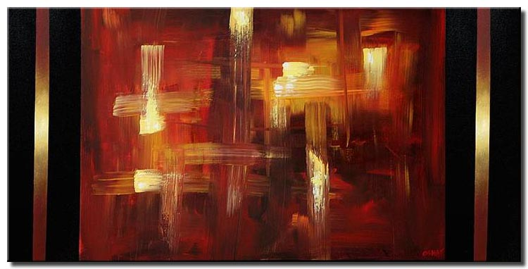 red and gold abstract home decor art