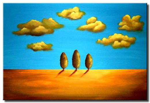 naive blue sky painting
