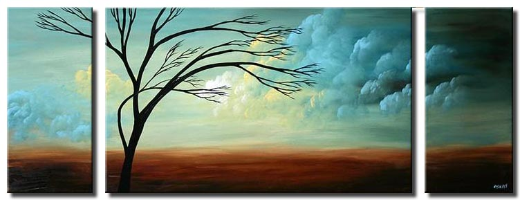 triptych landscape naked tree horizontal