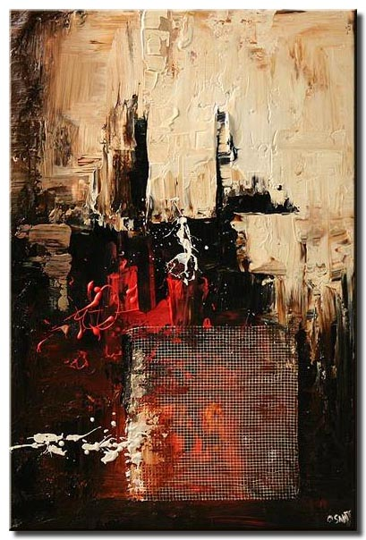 mixed media black red abstract vertical white