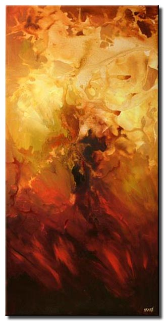 vertical red and yellow abstract painting fire