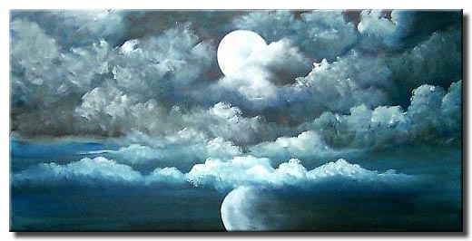 blue moon reflection painting