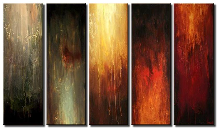 modern vertical abstract painting multi panel