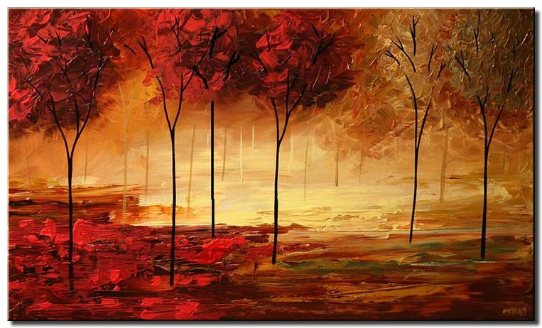Textured Painting Home Decor Trees